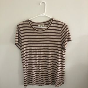 MADEWELL brown striped women's tee (size large)